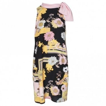 Badoo Neck Tie Floral Sleeveless Shift Dress