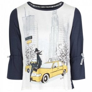 New York Chic Print 3/4 Sleeve T- Shirt