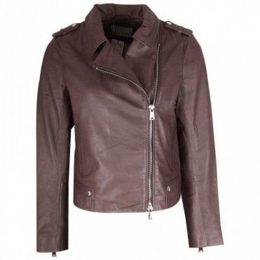 Off Centre Zip Up Brown Leather Jacket