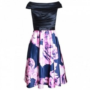 Off Shoulder Printed Full Skirt Dress