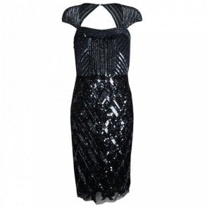 Open Back All Over Sequin Cocktail Dress