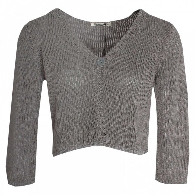 Betty Barclay Open Knit 1 Button Cropped Cardigan