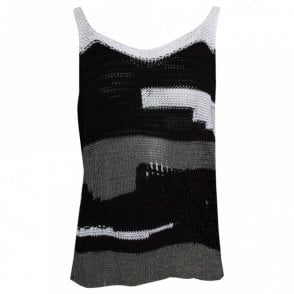 Crea Concept Open Knit Grey Scale Vest Top