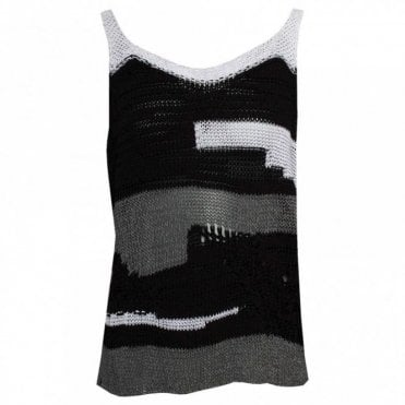 Open Knit Grey Scale Vest Top