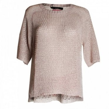 Open Knit Jumper With Back Lace Panel