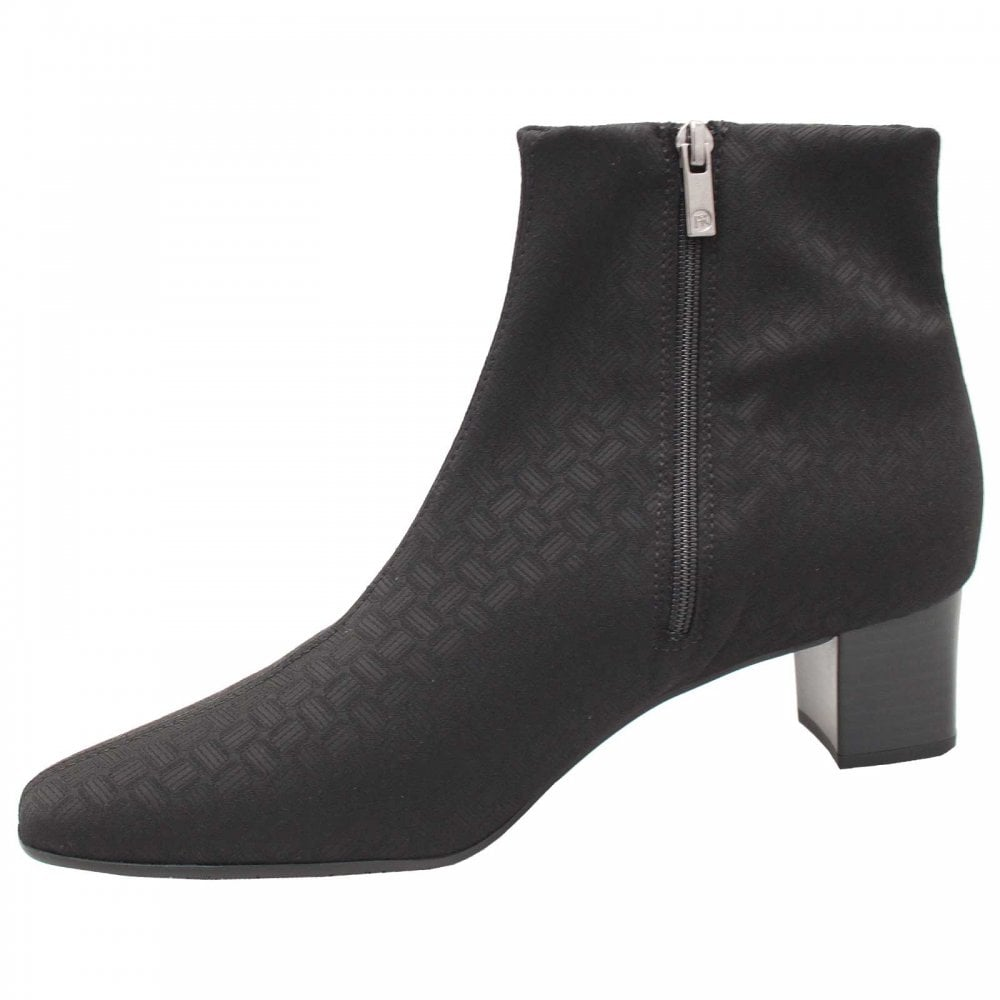 Geometric Fabric Low Heel Ankle Boots