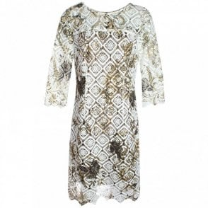 Marie Mero Overlay Lace Long Sleeve Shift Dress