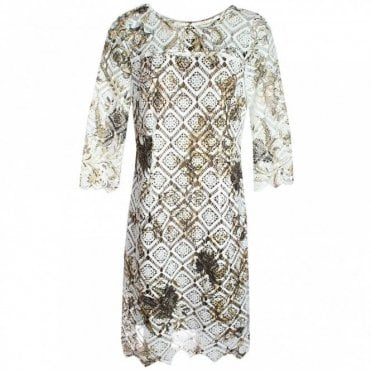 Overlay Lace Long Sleeve Shift Dress