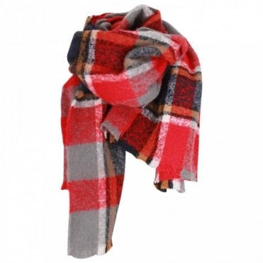 Oui Oversized Checker Design Ladies Scarf