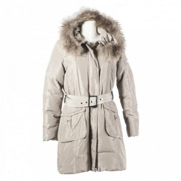 Padded Coat With Fur Trim Hood