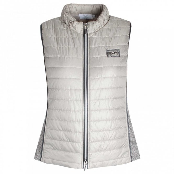 Just White Padded Double Zip Gilet