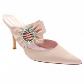 Pale Pink Satin Mule Diamante Buckle Hh