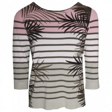 Palm Print 3/4 Sleeve Knitted Top