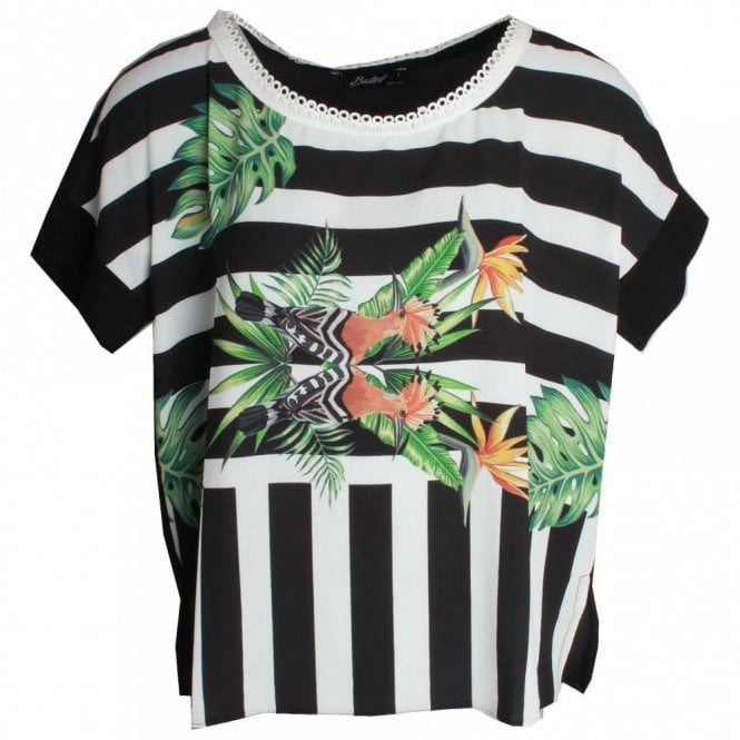 Badoo Palm Print Drop Sleeve Top