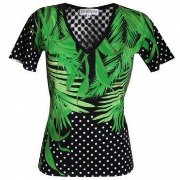 Passioni Palm Print T-shirt With Back Detail