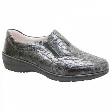 Patent Croc Effect Slip On Moccasin