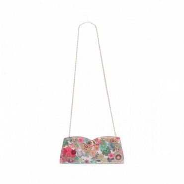 Azuree Patent Flower Design Clutch Handbag