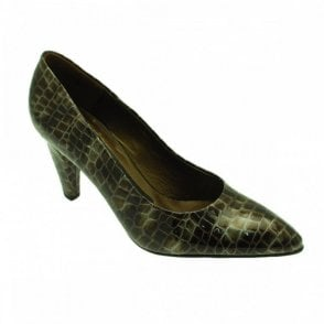 Peter Kaiser Patent Grey High Heel Court Shoe