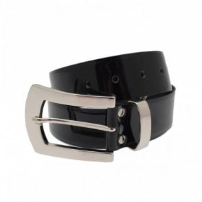 Patent Leather Belt With Large Buckle