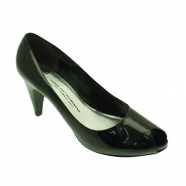 Patent Peep Toe Court Shoe With Platform