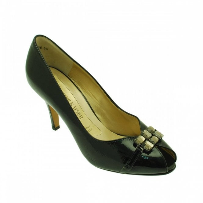 Peter Kaiser Patent Peeptoe Diamante Buckle Court