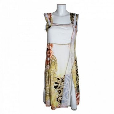 Patterned Fabric Panel Sleeveless Dress