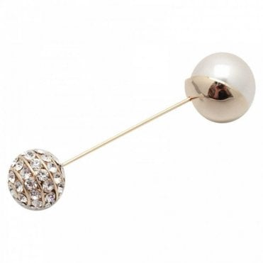 Nour London Pearl & Crystal Pin Brooch