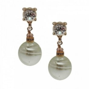Butterfly Pearl Drop Diamante Stud Earrings