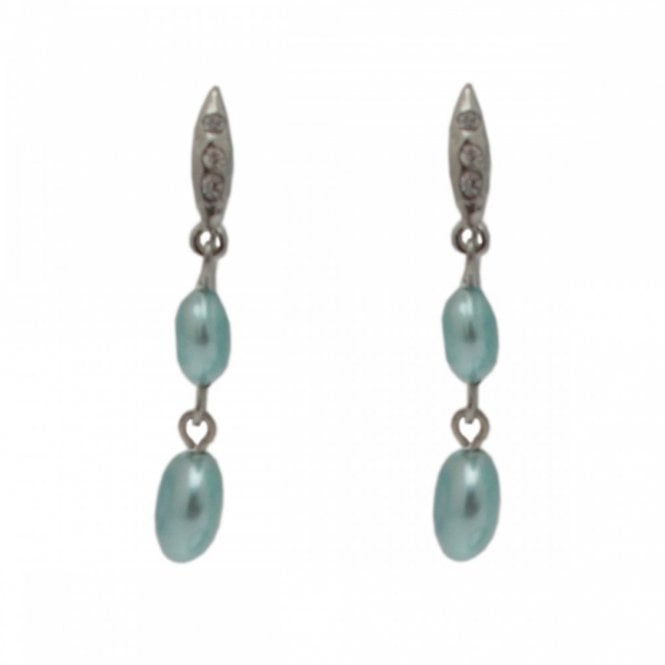 Nour London Pearl Effect Diamante Drop Earrings