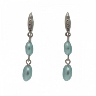 Pearl Effect Diamante Drop Earrings