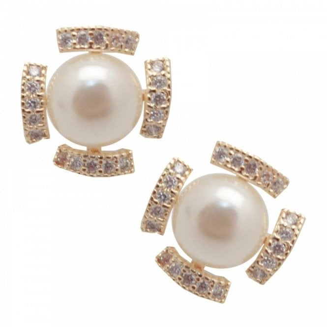 Nour London Pearl Effect Stud Earrings