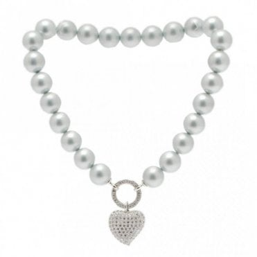 Pearl Necklace With Diamante Heart