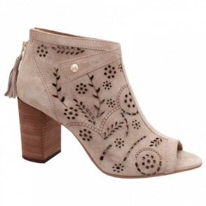 Alpe Peep Toe High Block Heel Ankle Boot