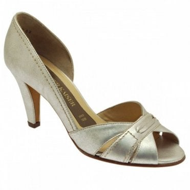 Peep Toe Side Out Heeled Court Shoe