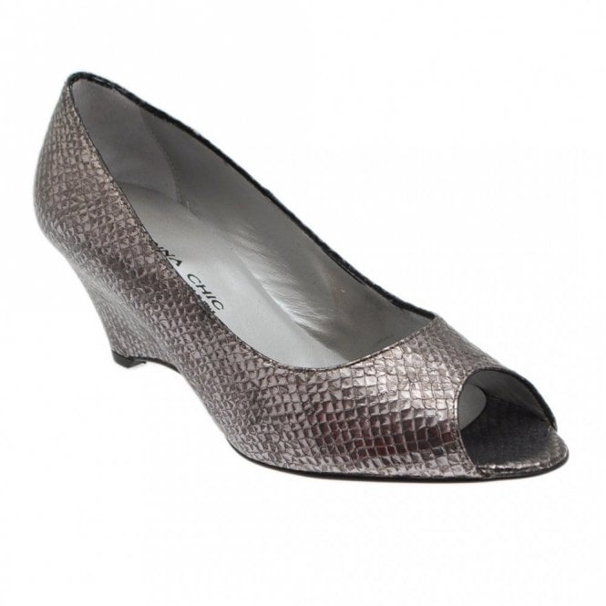 Peep Toe Wedge Heel Metallic Shoes