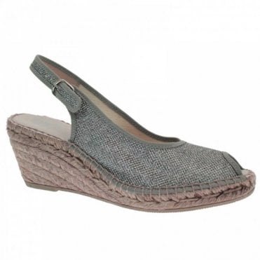 Peeptoe Slingback Low Glitter Wedge
