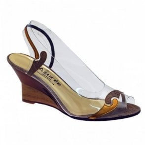 Azuree Peeptoe Wedge Two Tone Mofit Sandal