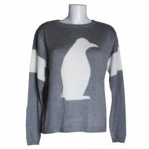 Oui Penguin Cut Out Back Detail Jumper
