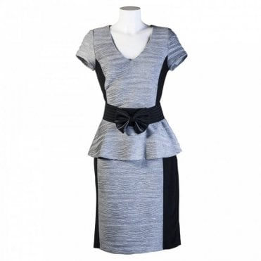 Peplum Belt Dress With Panel Detail