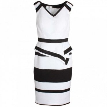 Peplum Style Sleeveless Monochrome Dress
