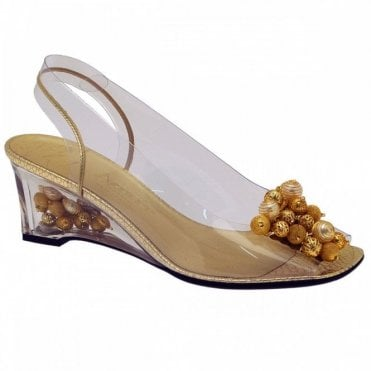 Perspex Gold Bead Trim Wedge Sandal