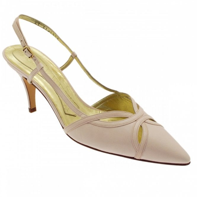 Magrit Pink Point Sling Back Shoe Medium Heel