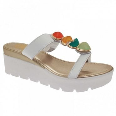 Plat Form Pebble Detail T-strap Sandal