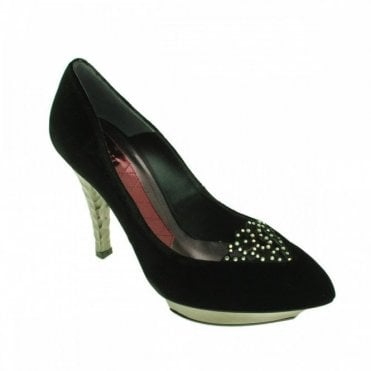 Platform Court Shoe With Diamante Trim