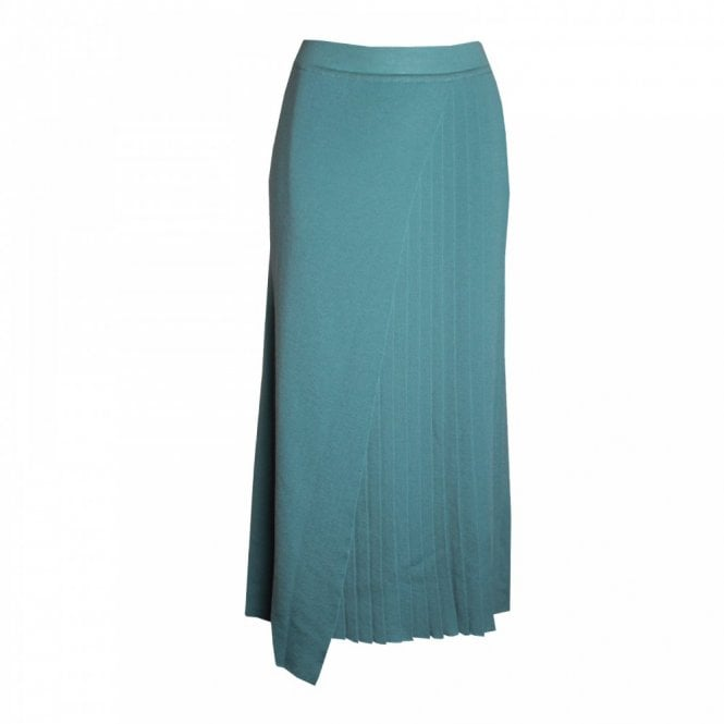 La Confidence Pleated Knit Skirt With Crossover Front