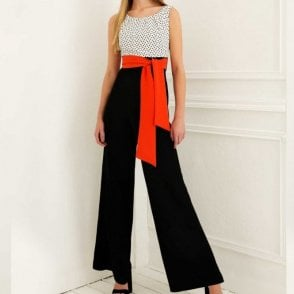 Polka Dot Top Jumpsuit With Wrap Belt