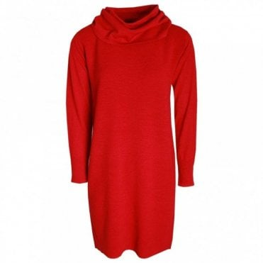 Polo Neck Long Sleeve Knitted Dress