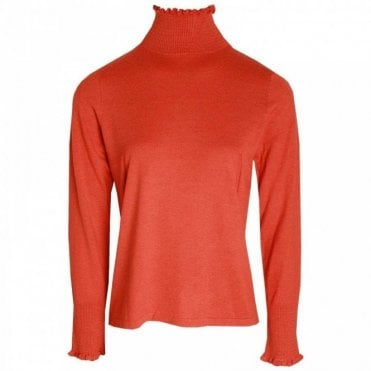 Polo Neck Long Sleeve Knitted Jumper