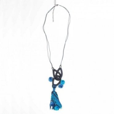 Pom Pom & Tassel Blue Necklace