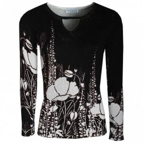Poppy Print Long Sleeve Knitted Jumper